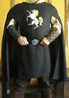 Medieval Renaissance Musketeer Celtic Short Cloak Cape with Large Embroidery