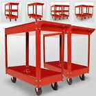 Red Tool Cart Trolley Utility Tray 2 3 Tier Wheeled Shelf Storage Garage DIY Set