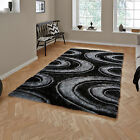 LUXURY QUALITY NOBLE HOUSE 3D GEOMETRIC ARC ACRYLIC SHAG GREY BLACK QUALITY RUGS