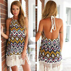 Women Retro Halter Geometric Print Open Back Tassel Fringe Mini Dress JYL