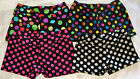 "GYMNASTIC DANCE SHORTS POLKA DOTS WHITE PINK MULTI 1"" INSEAM YOUTH SIZES"