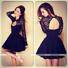 2016 Sexy Women's Long Sleeve Lace Bodycon Cocktail Evening Mini Dress