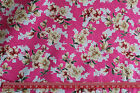 Retro flowers on pink 100% cotton fabric material tea dress / vintage
