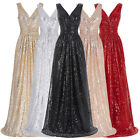 Womens Sexy Deep V-nevk Sequins Evening Dress Bridesmaid Party Prom Long  Dress