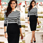 Elegant Sexy Office Lady Business Pencil Dress Stripe Bodycon Long Sleeves Skirt
