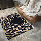 ACRYLIC QUALITY CARNIVAL BLACK GREY COLOUR THICK SOFT SWIRL LARGE MODERN RUG MAT