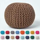 Hand Knitted Pouffes 100% Cotton Round Footstools Knit Woven Foot Rest Stool