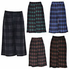 Womens Ladies 3/4 Length Stretchy Tartan Check Flared Culottes Skirt Shorts Pant