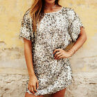 New Women Sheer Sequins Short Sleeve One Piece Evening Party Cocktail Mini Dress
