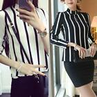 Women Classic Black White Stripe Chiffon Long Sleeve High Neck Shirt Blouse Tops