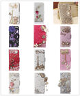 Bling Luxury Rose Crystal PU Leather Flip Rhinestone Wallet Stand Case Cover