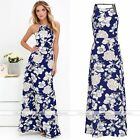 Women Elegent Blue Floral Summer Sleeveless Dress Evening Party Cocktail Dress