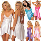 Womens Sexy V-neck Pajamas Asymmetric Lace Silk Soft Nightdress Sleepwear Dress