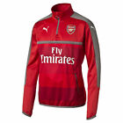 Official Puma Mens Gents Football Soccer Arsenal 1/4 Zip Training Top - Red Grey