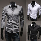 Mens Long Sleeve Casual Slim Fit Stylish Dress Shirts 3 Colors Black White Gray