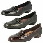 Ladies Clarks Patent Leather Croc Effect Casual Shoes 'Caswell Time'