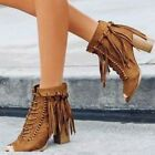 Loli-1 CAMEL / Suede Tassel Fringe Cuff Lace Up Chunky Heeled Booties