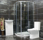 Zeus 800 or 900mm Quadrant Shower Cubicle Suite Inc. 450mm Cloak Vanity Unit