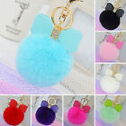Rabbit Fur Pom-pom Key Chain Bag Charm Fluffy Puff Ball Bow Key Ring Pendants