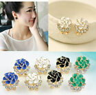 Women Lady Crystal Rhinestone Flower Rose Ear Stud Earrings Jewelry 4 Colors
