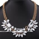 1pc Crystal Flower Teardrop Gems Statement Pendant Golden Chain Necklace Lady