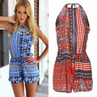 New Floral Print Jumpsuit Trousers Sleeveless Playsuit Romper Womens