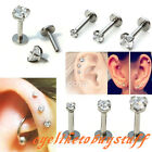 16g Steel 2/3/4mm Clear CZ Gem Labret Monroe Lip Ring Tragus 6mm Bar Barbell