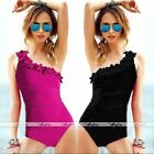New Fashion Lady Women's Ruffle One Shoulder One Piece Swimsuit Bathing Suits