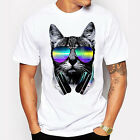 Men's T-shirt Summer Cool Top DJ Cat with Sunglasses Printed O-neck Top Stylish