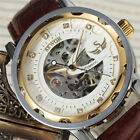Fashion Classic Military Army Mens Mechanical Watch Skeleton Leather Band