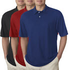 Jerzees Short Sleeve Polyester Polo Sport Shirt For Men Pique Collar Golf Tennis