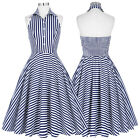 Womens Vintage 50S Striped Evening Housewife Party Casual A-Line Skater Dress