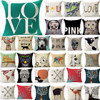 42# Cotton Linen Cushion Cover Bed Sofa Home Decor Letter Deer Skull Pillow Case