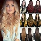 US Ladies Wig 3 4 Wig Cap Hair Nets Half Wigs Ombre Hairpiece Long Straight Wavy