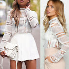 Sexy Women Stand Neck Sheer Lace Blouse Crochet Tops White Long Sleeve Shirt Tee