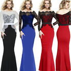 Elegant Women Long Sleeve Lace Full Bodycon Slim Cocktail Evening Party Dress
