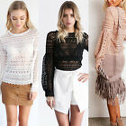 Sexy Women O Neck Sheer Lace Blouse Crochet Tops Bishop Sleeve Shirt Tee 3 Color