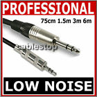"PRO 3.5mm Mini STEREO Jack to 6.35mm 1/4"" TRS Audio Cable Short 75cm 1.5m 3m 6m"