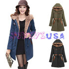 Womens Winter Warm Lining Cotton Hooded Long Coat Jacket Parka Outwear