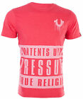 TRUE RELIGION Mens T-Shirt CONTENTS UNDER PRESSURE Red Heather $69 Jeans NWT