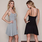 Womens Cotton Blend Casual Deep V Evening Party Cocktail Strap Dress,Size S-XL