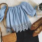 Fashion Summer Womens Ladies Lace Off shoulder Casual Blouses Crop Tops T-Shirts