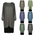 Womens Ladies Italian Long Sleeve Plus Size Oversized Cotton Pocket Midi Dress