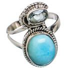 Larimar, Blue Topaz 925 Sterling Silver Ring Size 8.25 Ana Co Jewelry R667872