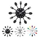 Modern Cutlery Creative Wall Clock Fork & Spoon Kitchen Utensil Stainless steel