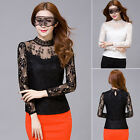 Fashion Women Lace Long Sleeve Cotton Casual Slim Blouse Shirt Tops Blouse Plus
