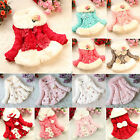 Baby Girls Faux Fur Fleece Coats Jacket Floral Princess Winter Warm Outfits Tops