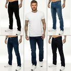 New ENZO Mens Stretch Jeans Straight Leg Regular Fit Basic Denim All Sizes 28-48
