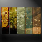 ABSTRACT FLORAL GRUNGE CANVAS PRINT 5 PANELS READY TO HANG