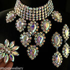 Aurora Borealis Crystal Necklace Earrings Ring Set Drag Queen Costume Jewellery